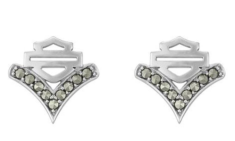 Harley-Davidson® Women's Chevron Marcasite Post Earrings | Bar & Shield®