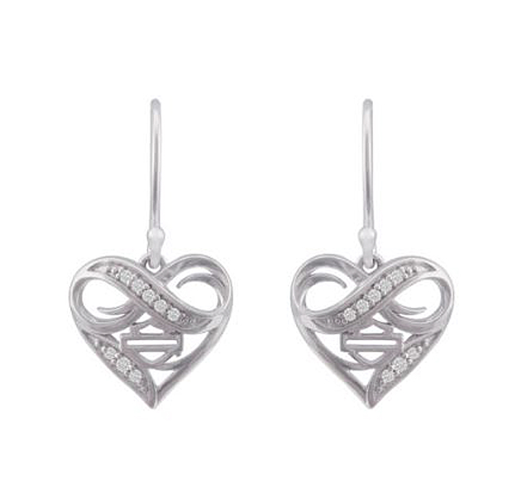 Harley-Davidson® Women's Infinity Thorn Heart Drop Earrings   Rhinestone Embellished