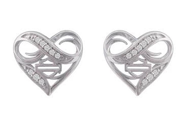 Harley-Davidson® Women's Infinity Thorn Heart Post Earrings   Rhinestone Embellished