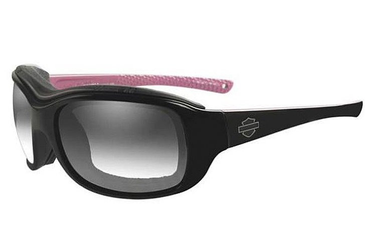 Harley-Davidson® Women's Wiley X® Journey Sunglasses | LA™ Light Adjusting Smoke Grey Lenses | Gloss Black With Cotton Candy Frame