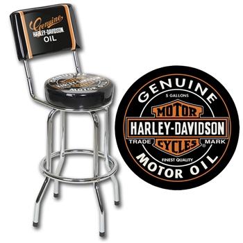 Harley-Davidson® Oil Can Bar Stool with Backrest