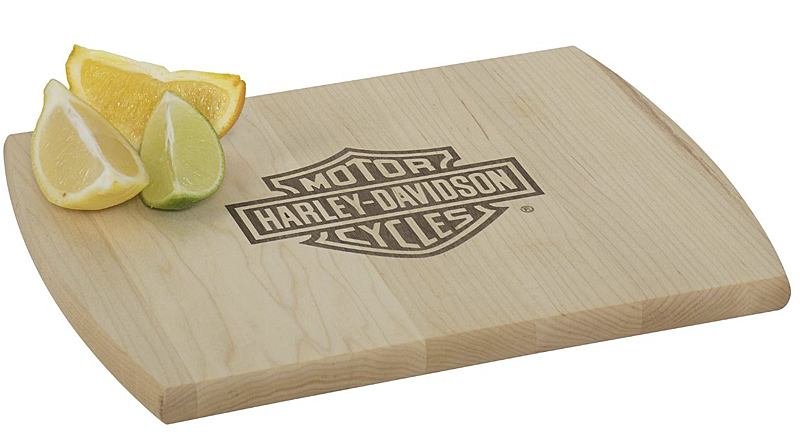 Harley-Davidson® Bar & Shield® Inlay Wood Cutting Board | Walnut Inlay