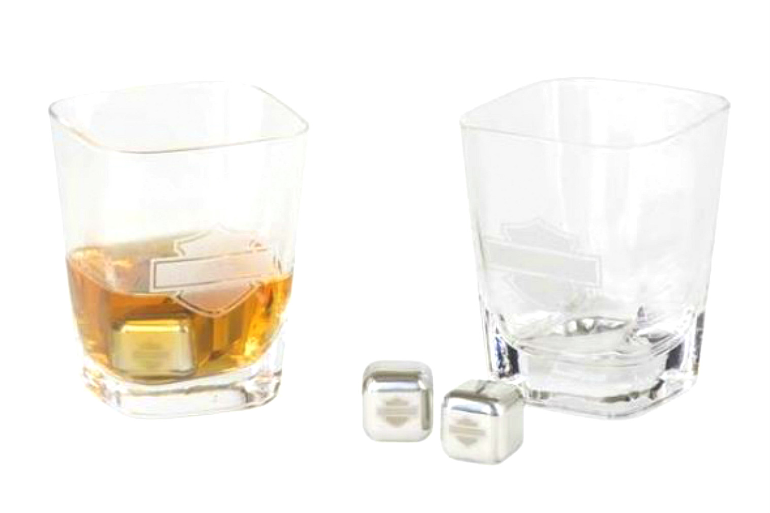 Harley-Davidson® Bar & Shield® Silhouette Rocks Glass Set | Two Glasses & Four Stainless Steel Ice Cubes