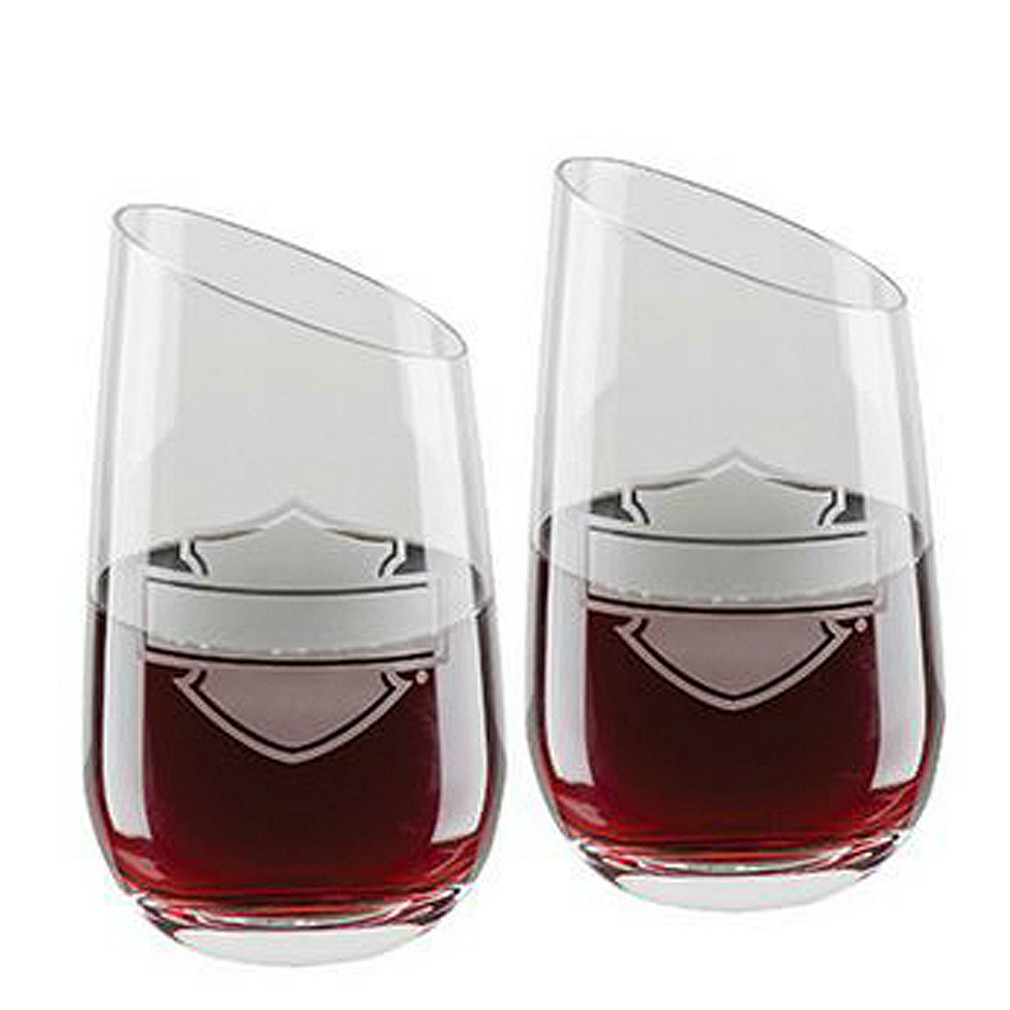 Harley-Davidson® Bar & Shield® Stemless Wine Glass Set | Set of Two