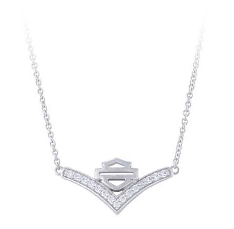 Harley-Davidson® Women's Chevron White Bling Necklace   Bar & Shield®