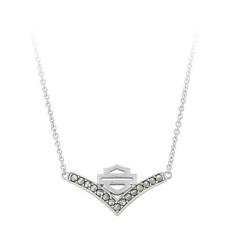 Harley-Davidson® Women's Chevron Marcasite Necklace | Bar & Shield®