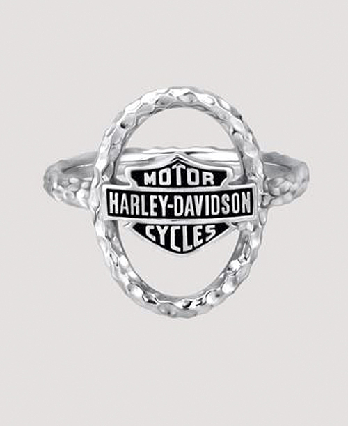 Harley-Davidson® Women's Hammered Link Ring | Bar & Shield®