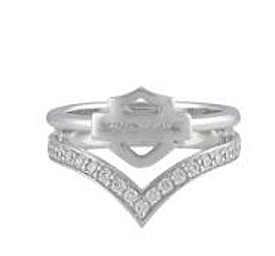 Harley-Davidson® Women's Chevron White Bling Ring   Bar & Shield®