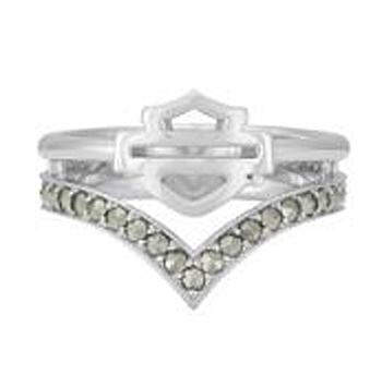 Harley-Davidson® Women's Chevron Marcasite Ring | Bar & Shield®