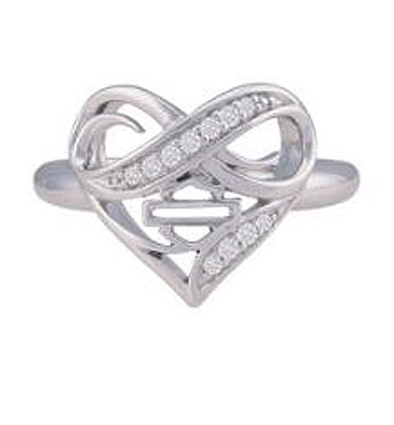 Harley-Davidson® Women's Infinity Thorn Heart Ring   Rhinestone Embellished
