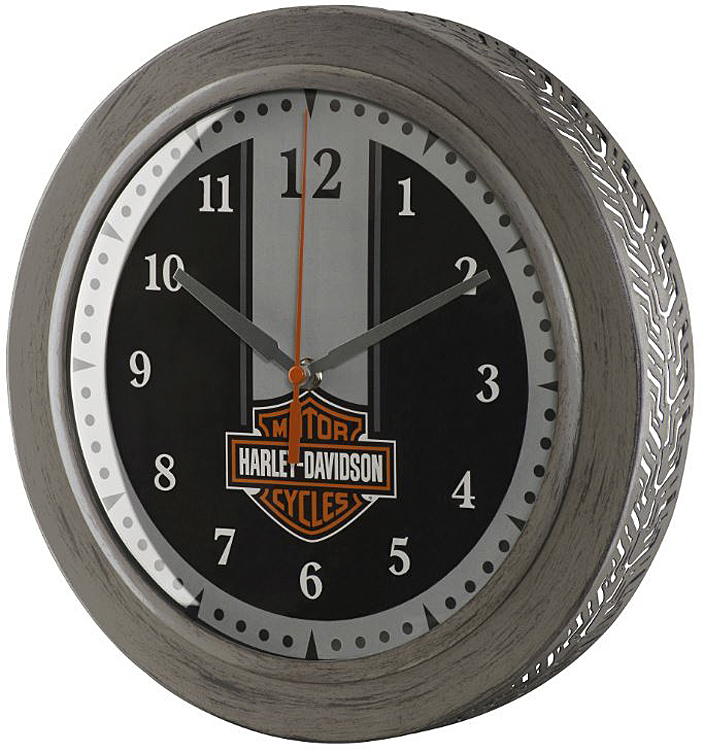 Harley-Davidson® Metal Tire Tread Bar & Shield® Clock