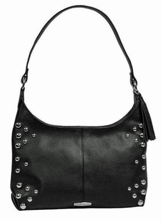 Harley-Davidson® Women's Heavy Metal Hobo Handbag | Black | Dome Stud Embellishments