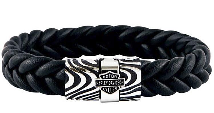 Harley-Davidson® Men's Driftwood Flat Braided Leather Bracelet | Black & Silver