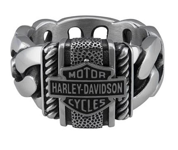 Harley-Davidson® Men's Bar & Shield® Curb Link Ring