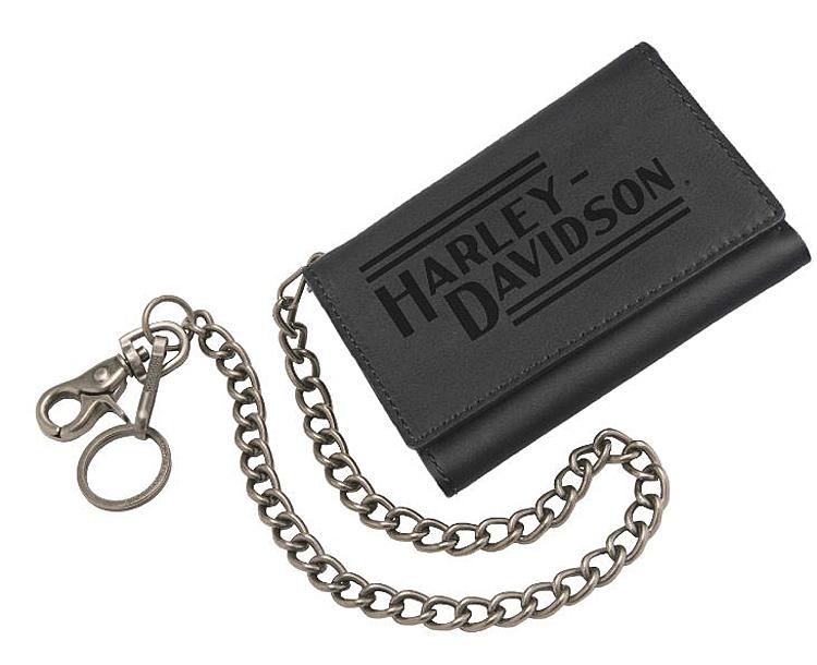 "Harley-Davidson® Men's Currency & Coin Medium Biker Wallet | Tri-Fold | 19"" Biker Chain"