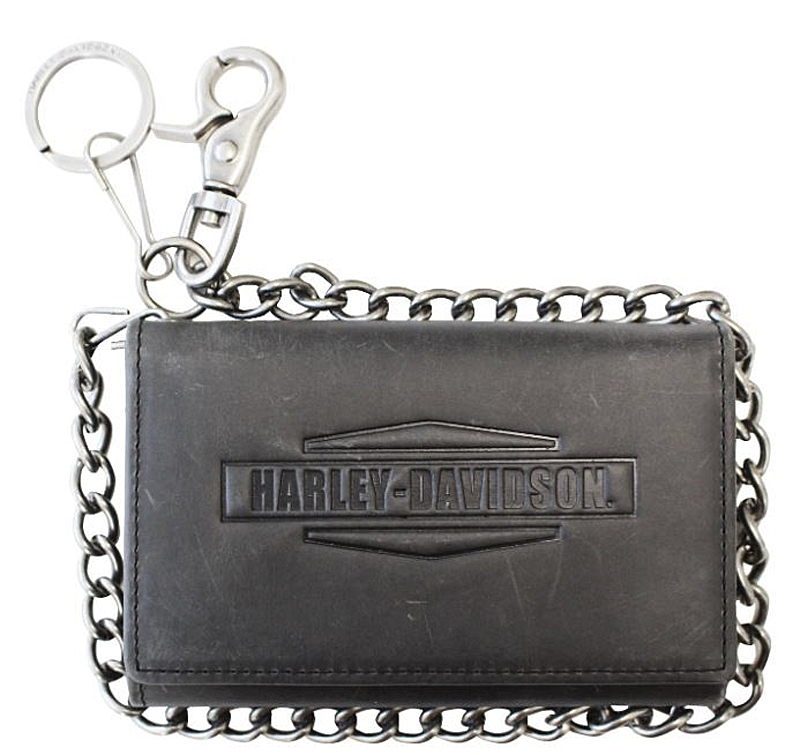 "Harley-Davidson® Men's Crazy Horse Medium Biker Wallet | Zip Coin Pocket | Tri-Fold | 19"" Chain"