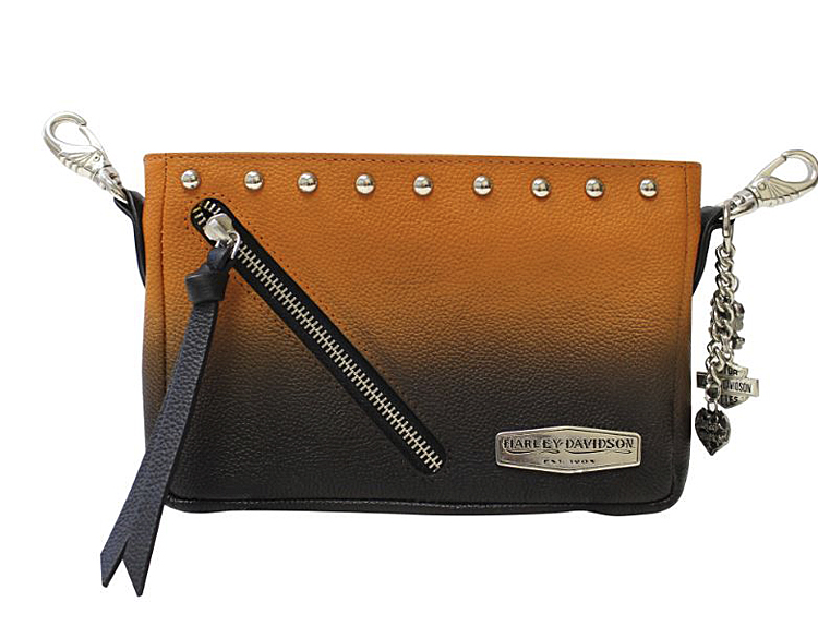 Harley-Davidson® Women's Ombré Hip Bag | Orange-Into-Black | Detachable Strap