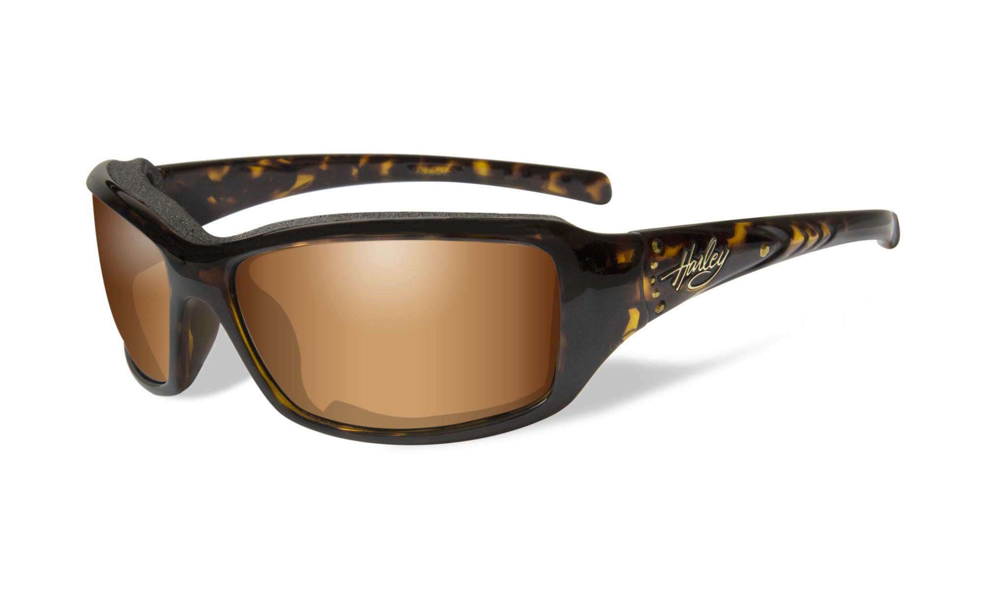 Harley-Davidson® Women's Wiley-X® Tori Sunglasses | Bronze Flash Lenses | Embellished Stones | Marble Tortoise Frames
