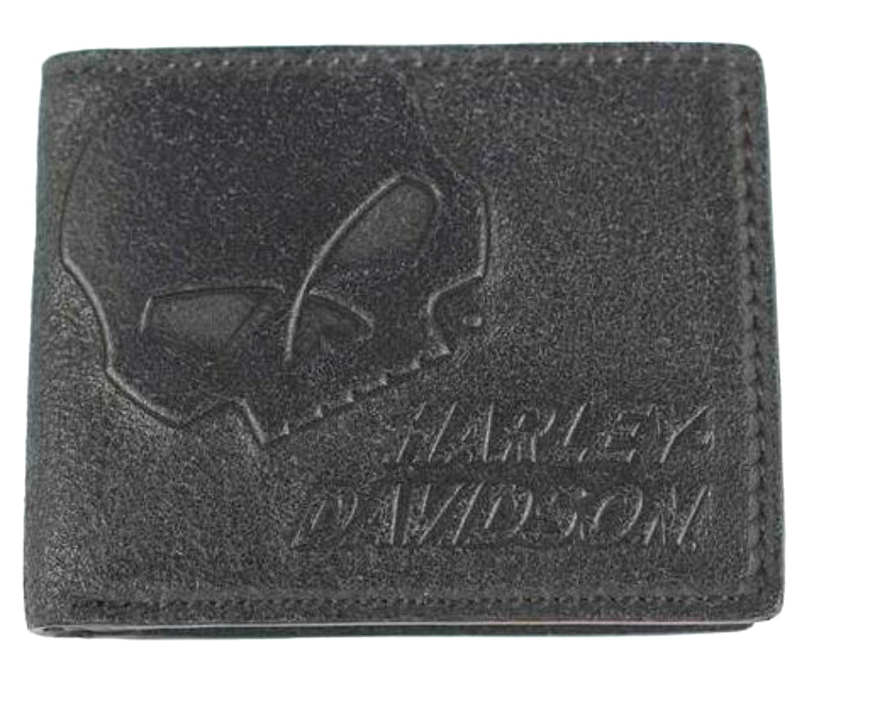 Harley-Davidson® Men's Skull Graphite Billfold Wallet | Flip Out ID Window