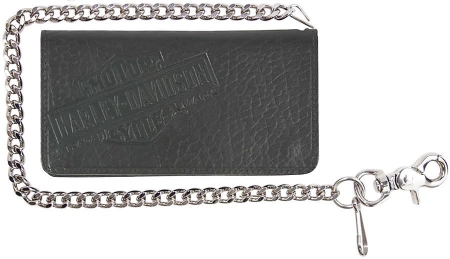 "Harley-Davidson® Men's Genuine Bison Leather Tall Biker Bi-Fold Wallet | Bi-Fold | 22"" Biker Chain"