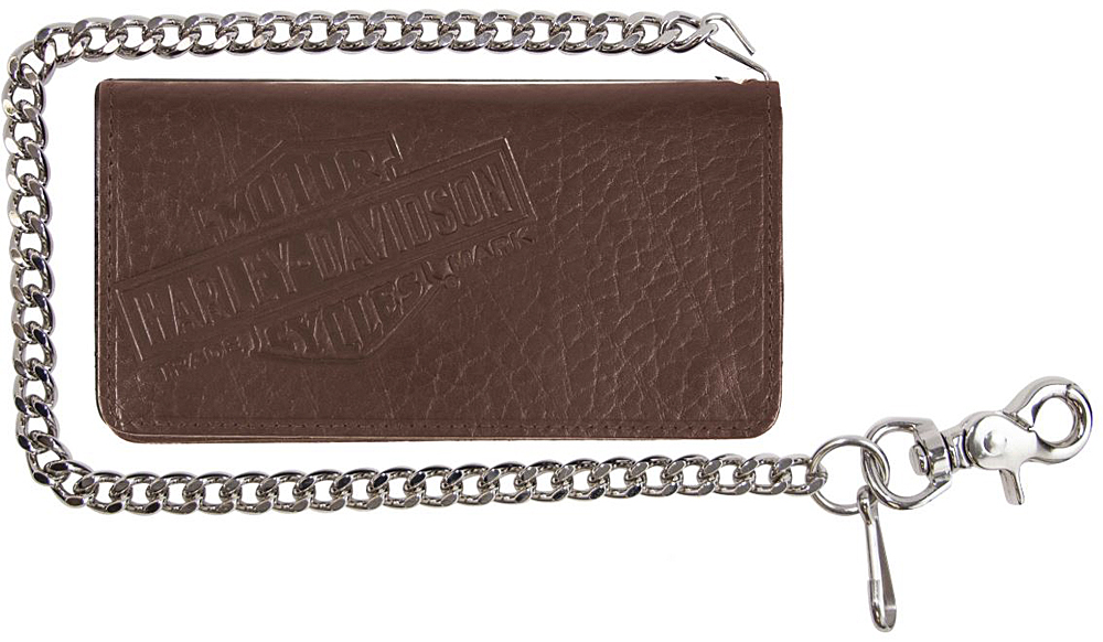 "Harley-Davidson® Men's Genuine Bison Leather Tall Biker Wallet | Brown | Bi-Fold | 22"" Biker Chain"