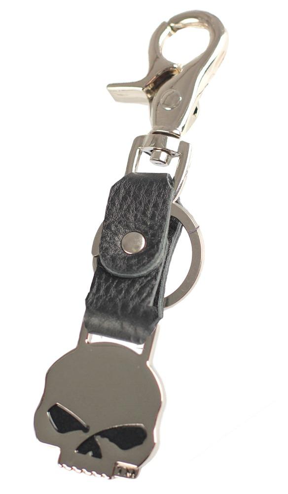 Harley-Davidson® Men's Willie G® Skull Bottle Opener Key Fob | Black Leather