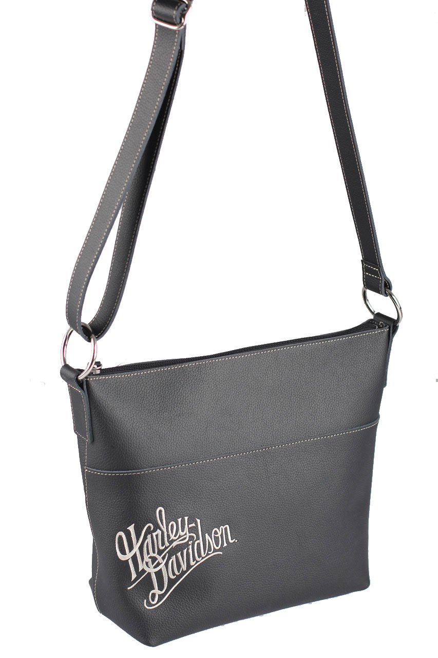 Harley Davidson Reg Women S Embroidered Script Bucket Handbag
