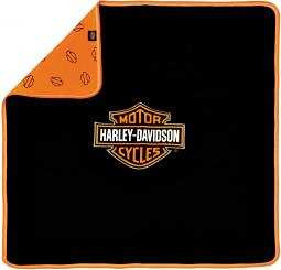 Harley-Davidson® Newborn Boys' Reversible Receiving Blanket | Bar & Shield® Black to Orange Pattern