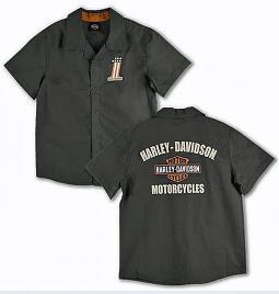 Harley-Davidson® Boys' Green Woven Shop Shirt | Short Sleeves