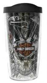 Harley-Davidson® Tervis® Vintage Knucklehead Tumbler | Winged Skull | Two Sizes | Black Lid
