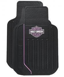 Harley-Davidson® Black Bar & Shield® Floor Mats   Pink Stripe