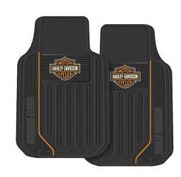 Harley-Davidson® Black Bar & Shield® Floor Mats   Orange Stripe