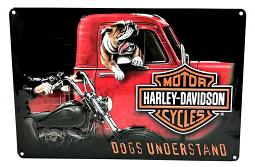 Harley-Davidson® Dogs Understand Embossed Tin Sign | Bar & Shield®