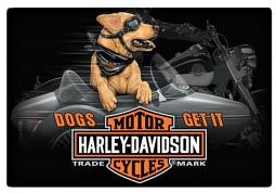 Harley-Davidson® Dogs Side Car Embossed Tin Sign | Dogs Get It | Bar & Shield®