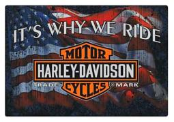 Harley-Davidson® Why We Ride Embossed Tin Sign   Flag Graphic