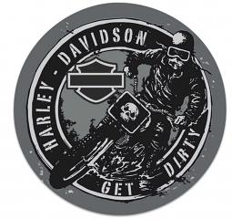 Harley-Davidson® Get Dirty Embossed Tin Sign | Round
