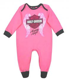 Harley-Davidson® Infant Girls' Winged Bar & Shield® Interlock Coverall | Footed