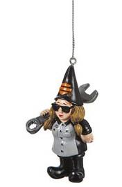 Harley-Davidson® Biker Garden Gnome Ornament | Female Mechanic