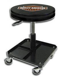 Harley-Davidson® Bar & Shield® Shop Stool | Adjustable Seat | Swivel Casters