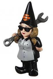 Harley-Davidson® Biker Garden Gnome | Female Mechanic
