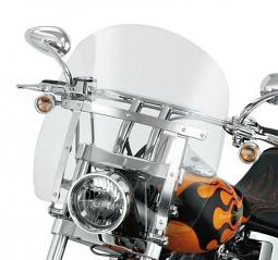 Harley-Davidson® Quick-Release Compact Windshield 16 Inch Light Smoke/Polished Braces