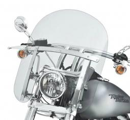 Harley-Davidson® Quick-Release Compact Windshield  14 Inch Light Smoke With Polished Braces