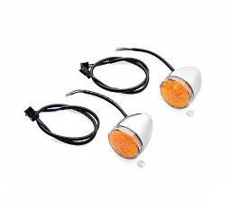 Harley-Davidson® Turn Signal Kit - LED Bullet - Chrome - Amber Lens - Front - Touring