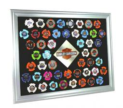 Harley-Davidson® Silver 50 Poker Chip Collectors' Frame | Wall Mount