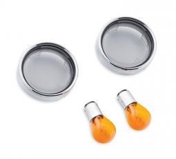 Harley-Davidson® Bullet Style Front Turn Signal Trim Ring Kit - Smoked Lenses