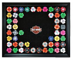 Harley-Davidson® Bar & Shield® Black 76 Poker Chip Collectors' Frame | Wall Mount