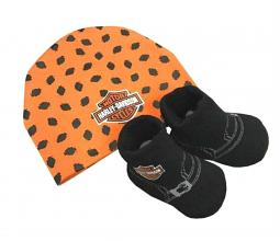 Harley-Davidson® Newborn Boys' Beanie & Booties Set