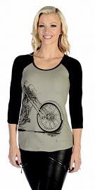 Liberty Wear American Made Apparel Women's Vintage Bike T-Shirt | Scoop Neckline | Three-Quarter Sleeves