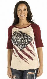 Liberty Wear American Made Apparel Women's Patriotic Pride T-Shirt | Scoop Neckline | Half Sleeves