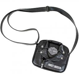 Harley-Davidson® Girls' Polyurethane Biker Crossbody Bag | Bar & Shield® Patch | Adjustable Strap